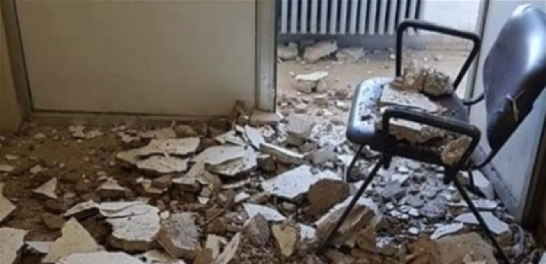 توقف معاملات المواطنين بسبب انهيار قسم من سقف مبنى سرايا اميون