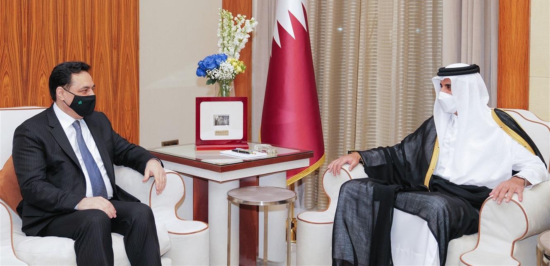 دياب يلتقي أمير قطر